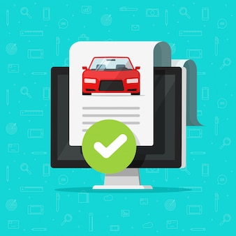 Car or automobile history check or vehicle report document approved on computer