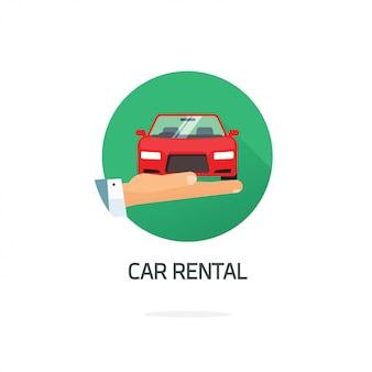 Car or automobile rental symbol in flat cartoon style