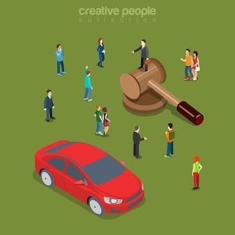 자동차 차량 경매 평면 아이소 메트릭