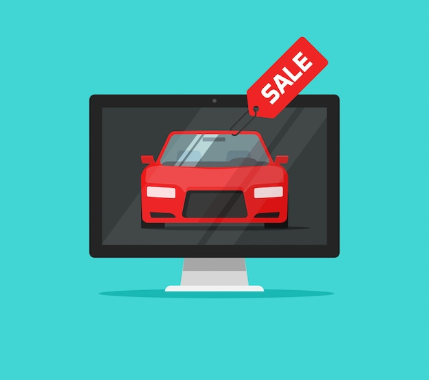 Car or automobile with online sale badge in computer monitor