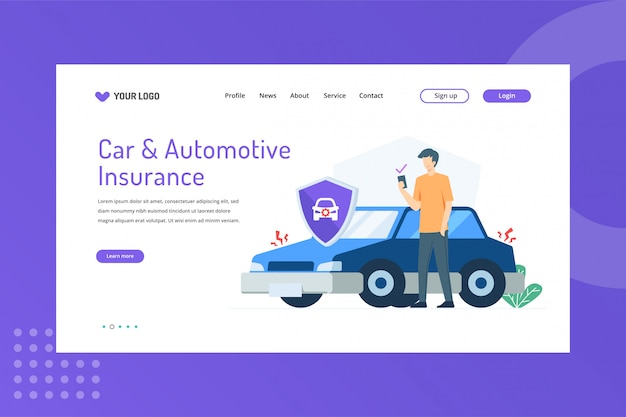 Car and automotive insurance illustration on landing page