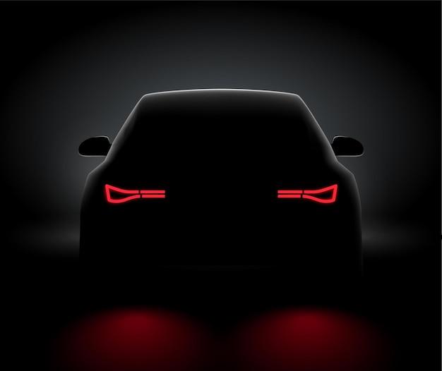 車のバックビューナイトライトリアはリアルなビューを導きました。夜の暗い背景の概念で車の光
