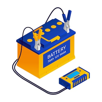 Car battery charger with jump starter connection wire kit illustration