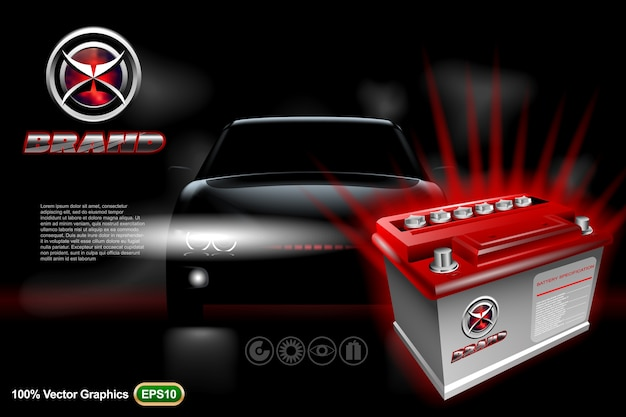 Car battery with car on black background. mock up is ready to be converted to your business needs.  realistic image