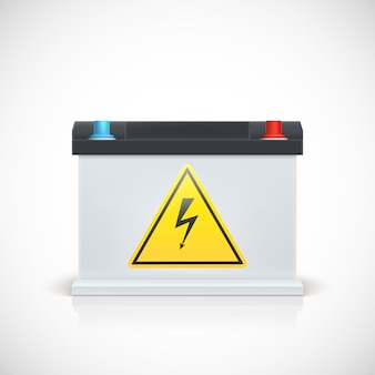 Car battery with electrical hazard sticker