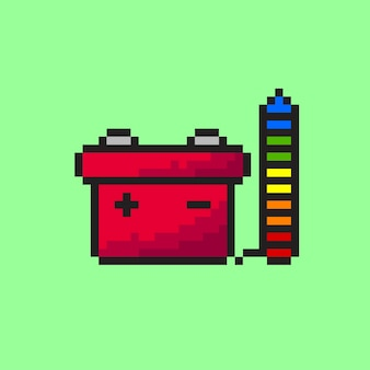 Car battery with pixel art style