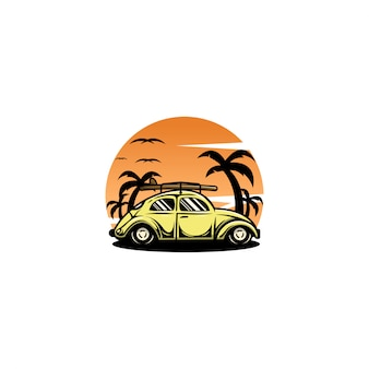 Car beetle sunset logo vector design