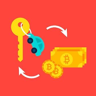 車のビットコインの概念。金融取引のベクトルイラスト。