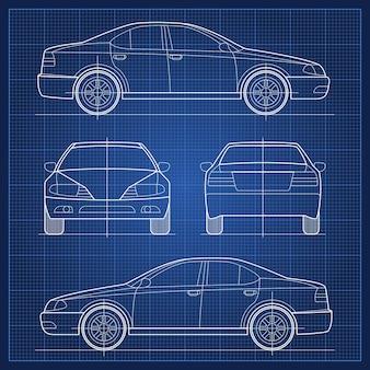 자동차 청사진. 차량 엔지니어링 청사진. 세단 모델의 일러스트레이션 구조