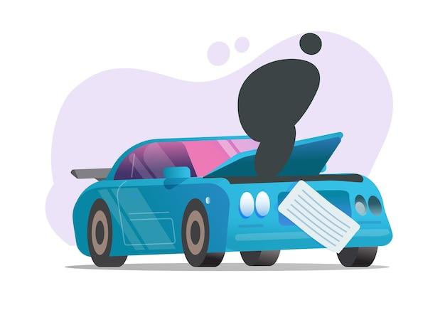 Car breakdown or broken automobile vehicle accident crash
