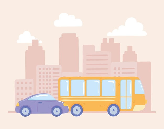 Car and bus in the city