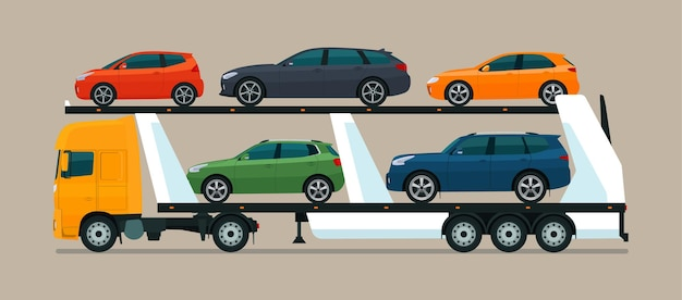 さまざまな車を積んだ自動車運搬船。