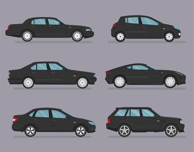 Автомобиль . набор автомобилей. плоский стиль. вид сбоку, профиль.
