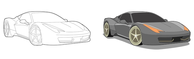 Car cartoon   coloring page for kids