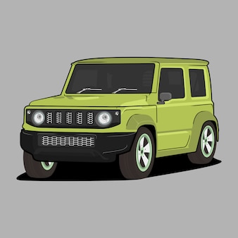 Car cartoon  illustration,  suzuki jimny classic retro vintage car
