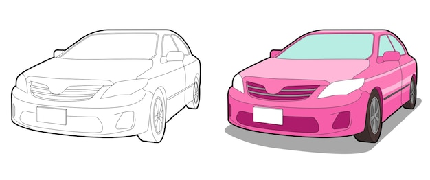 Car cartooncoloring page for kids