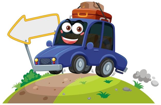 白い背景の上の表情と車のキャラクター