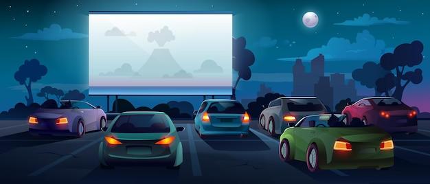 Car cinema or drive in movie theater auto theatre