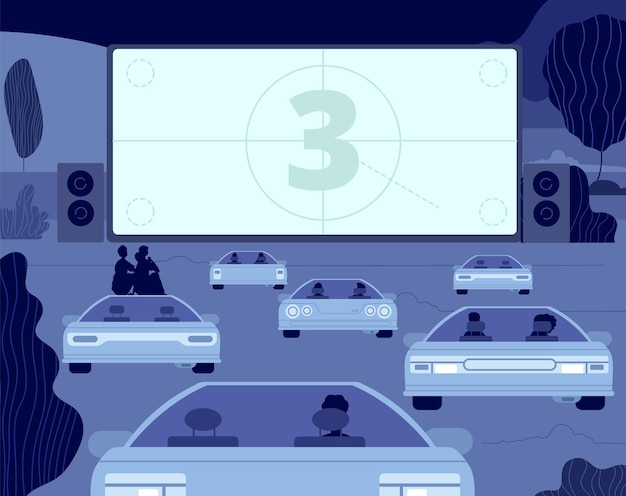 Car cinema. large kino theater, outside drive movie scene. audience in autos, open sky entertainment. couple night relax vector illustration. entertainment car movie, theater cinema in air