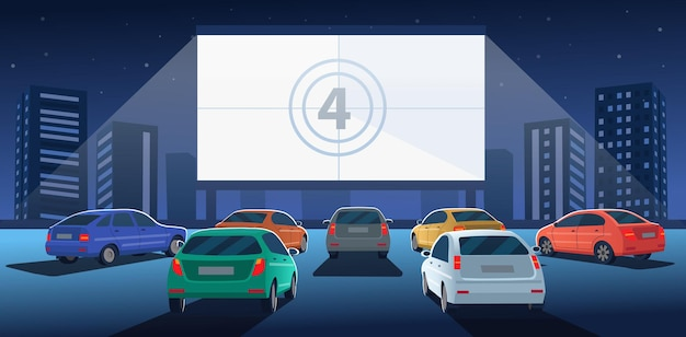 Car cinema with white screen drivein cinema theater