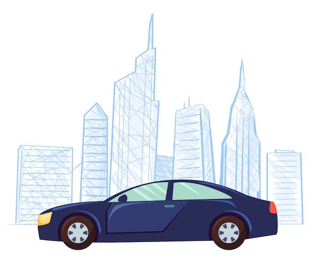 Car cityscape drawing sketch skyscrapers vector