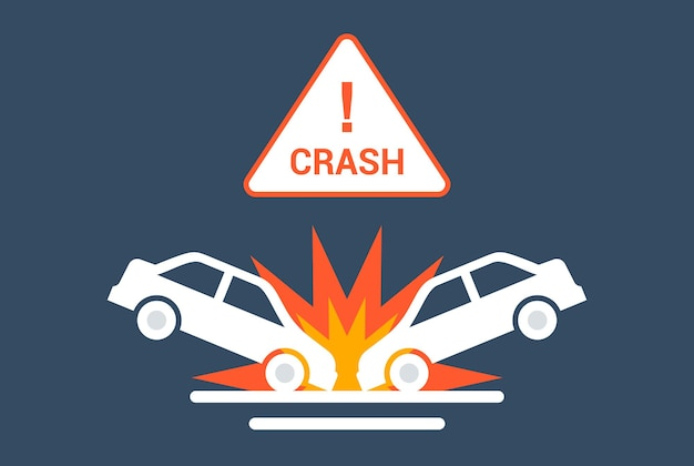 Car collision icon on the road. flat vector illustration.