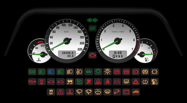 車のステータスを示す一連の情報アイコンを備えた車制御の白いインターフェース。ベクトルイラスト、ゲームまたはwebアプリのテンプレート