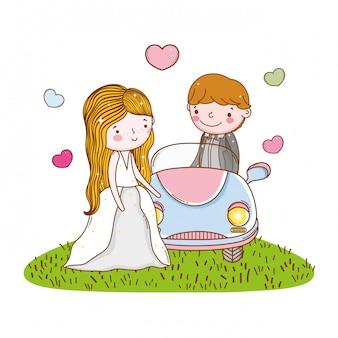 Car couple marriage cute cartoon