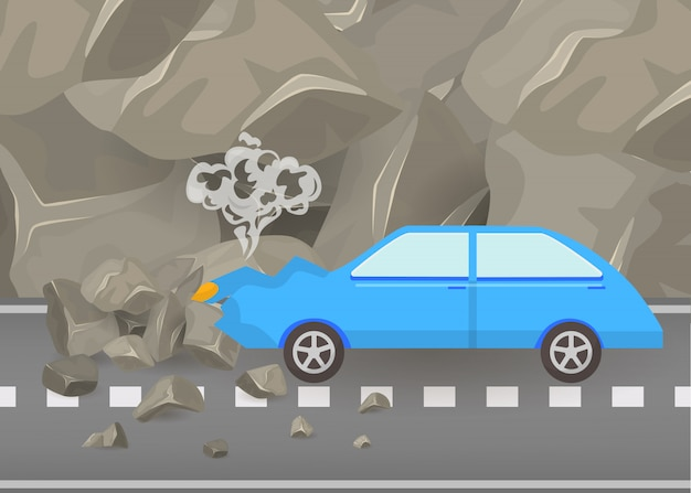 Car crash and accidents on road vector illustration. damaged and broken automobile scene of carsh car among mountains and grey rocks poster.