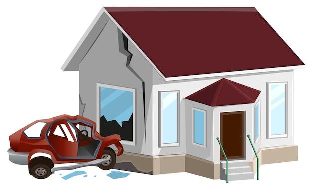 자동차 충돌. 자동차가 집에서 벽에 충돌했습니다. 재산 보험.