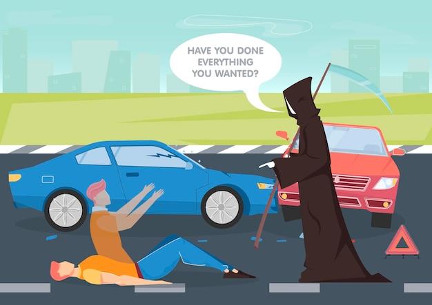 Sfondo di incidente d'auto con simboli di morte e vita piatti