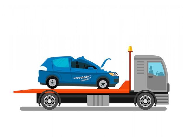 Car crash, evacuation service vector illustration