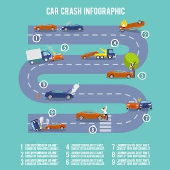 Car crash infographic set with damaged auto burning vehicle vector illustration