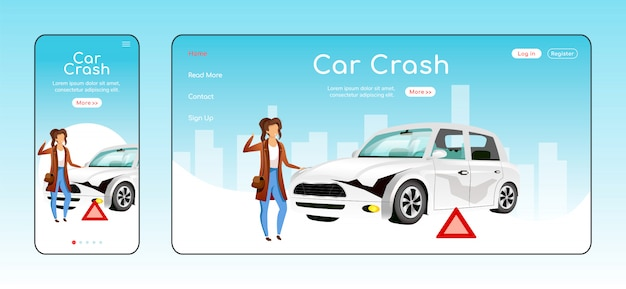 Car crash responsive landing page   template. emergency situation help homepage layout. one page website ui with cartoon character. road accident adaptive webpage cross platform