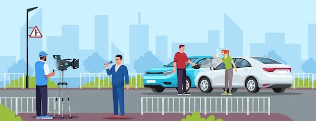 Car crash semi flat vector illustration