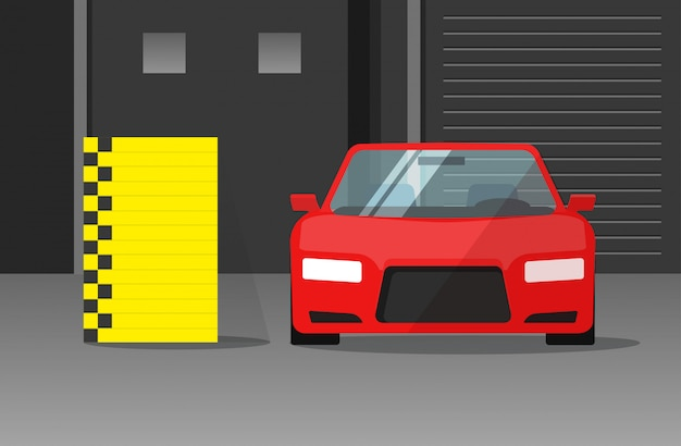Car crash test  illustration flat cartoon