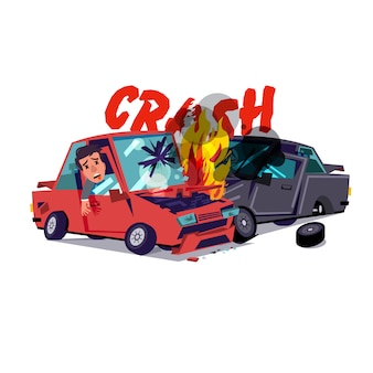 Car crash with fire
