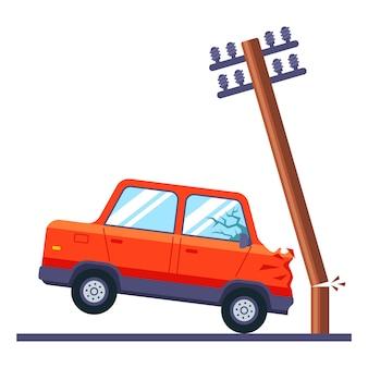 Автомобиль врезался в электрический столб и сломал его. дорожно-транспортное происшествие. плоский.