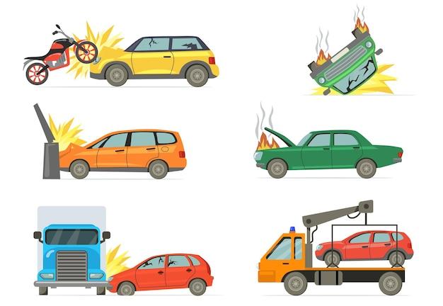 交通事故セット。燃える車、バイク、トラック、白い背景で隔離のタオルトラックと交通事故。