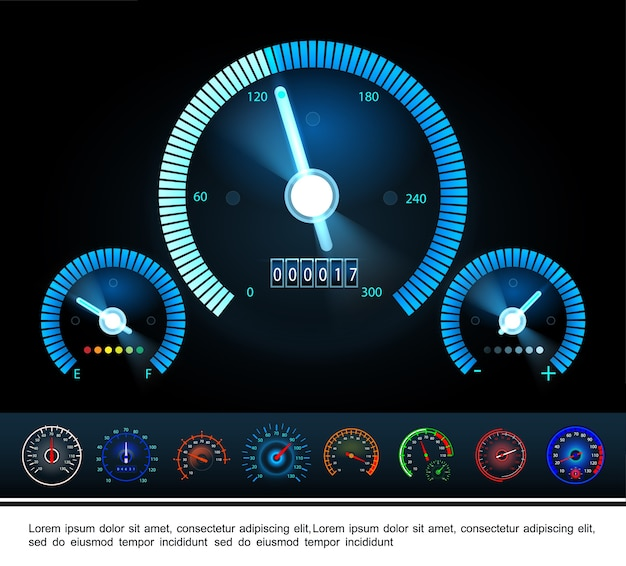 Car dashboard panel with fuel indicator tachometer and colorful speedometers on dark