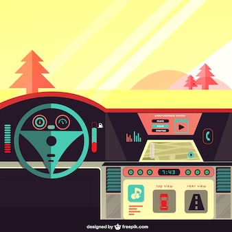 Car dashboard on the road