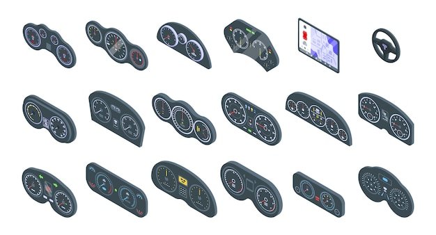 Car dashboard  set. isometric set of car dashboard   for web design isolated on white background