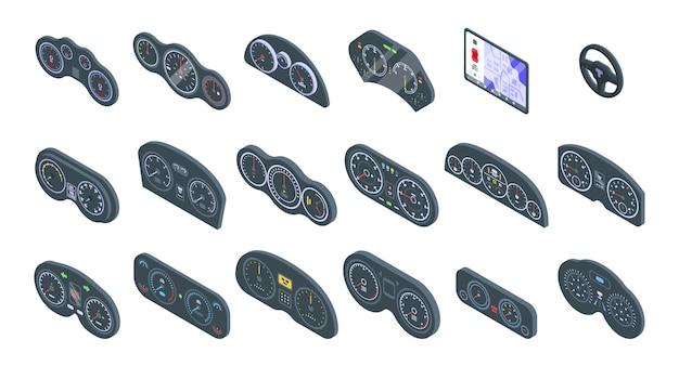 자동차 대시 보드 세트. 흰색 배경에 고립 된 웹 디자인을위한 자동차 대시 보드의 아이소 메트릭 세트