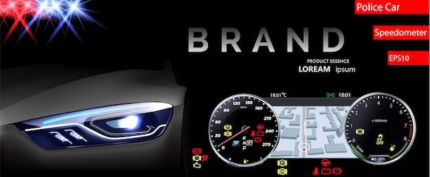 Car dashboard. speedometer vector