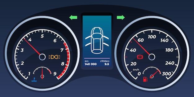 자동차 대시 보드. 속도계, 회전 속도계.