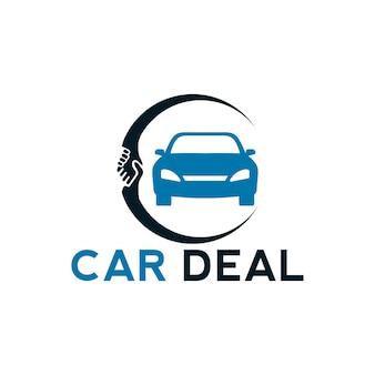 車と握手イラストと車の取引ロゴデザインテンプレート要素