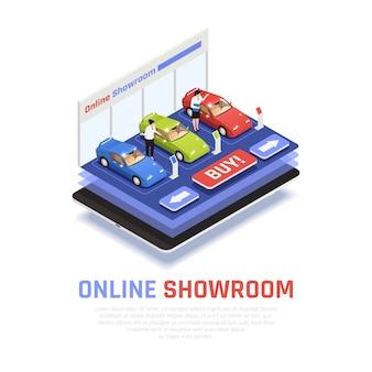 Композиция автосалона с символикой онлайн выставочного зала изометрии