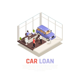Car dealership concept with car loan symbols isometric