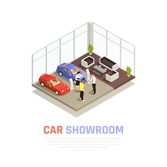 Car dealership concept with car purchase  symbols isometric