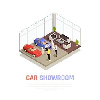 Концепция автосалона с символами покупки автомобиля изометрии